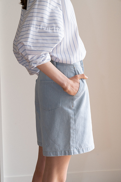 4 POCKET HALF DENIM PANTS (OCEAN BLUE)